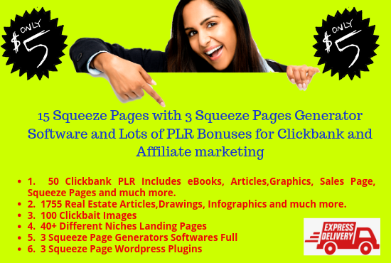 15 Squeeze Pages with 3 Squeeze Pages Generator and Lots of PLR Bonuses for Clickbank