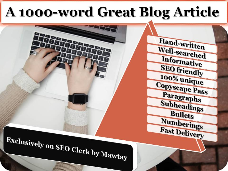 1000-word excellent SEO blog article on any subject