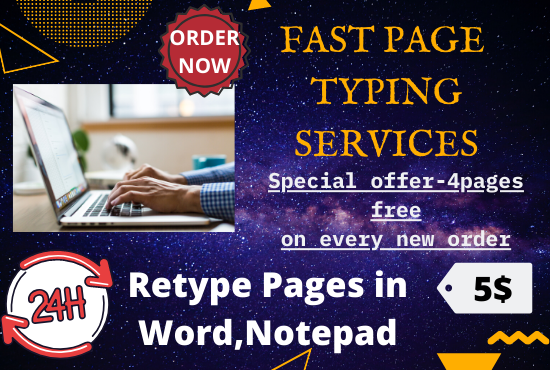 page typing work of 10 pages within 24 hours