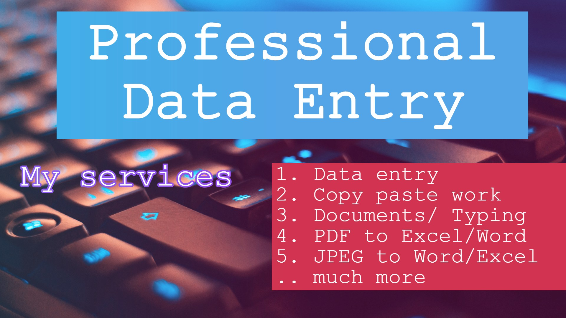 Fastest Data entry delivery you ever SEEN
