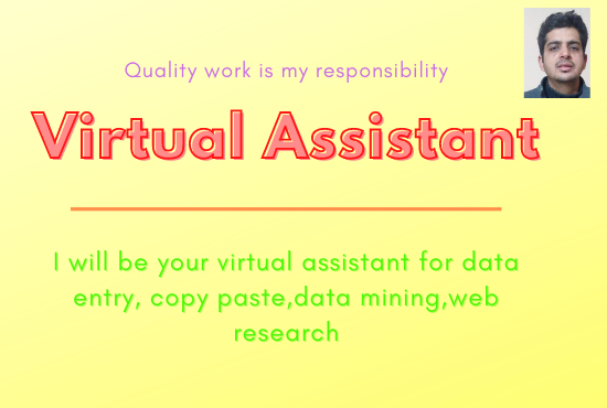 I will be your virtual assistant for data entry copy paste web research