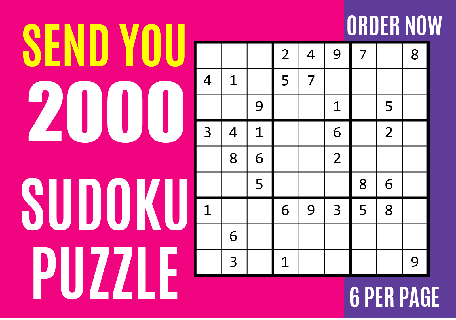 I will send you 2000 sudoku puzzles with solution
