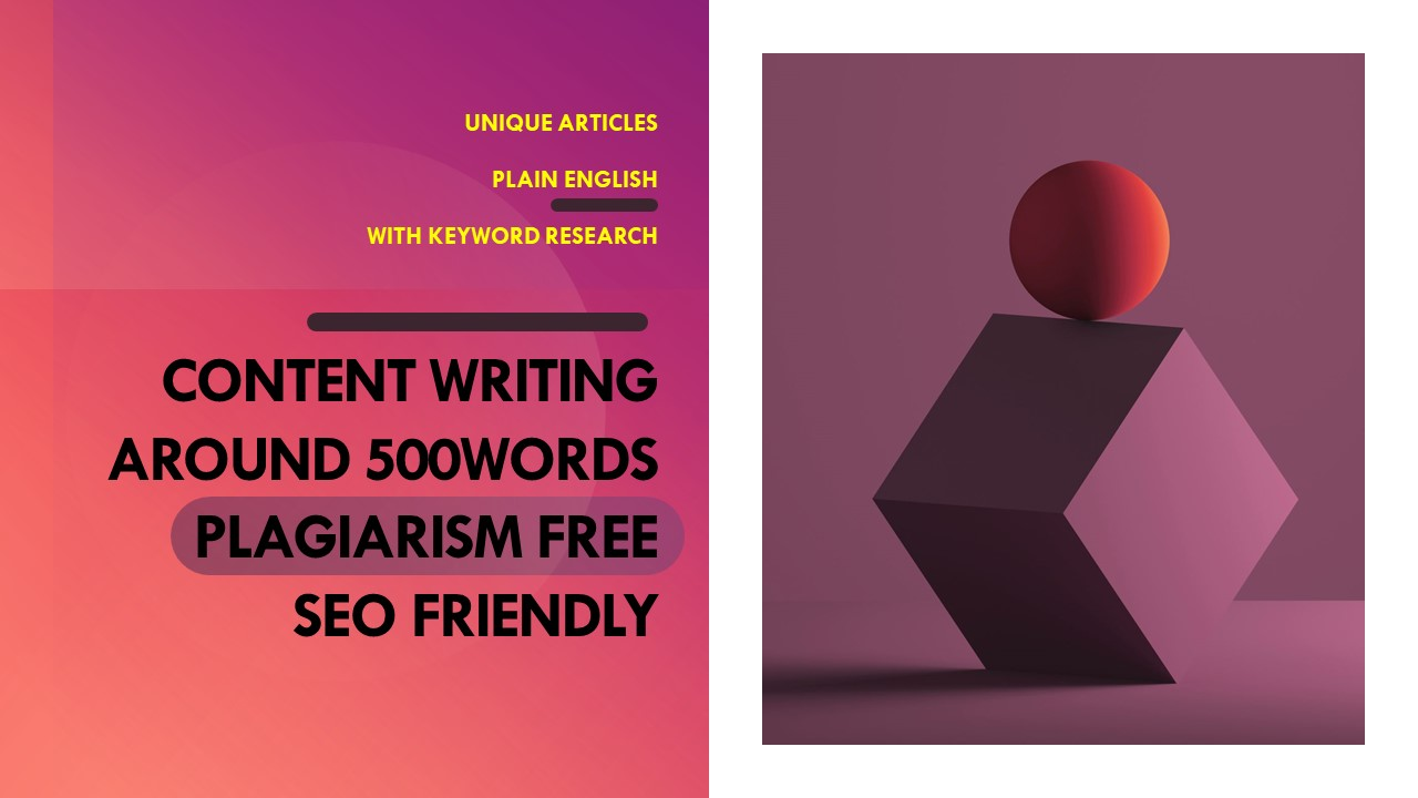 Optimized content writing for your relevant niche 500 words