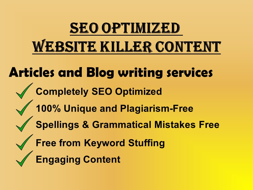 SEO optimized killer Articles,  Blogs,  any Website Content writing on any topic upto 1200 words