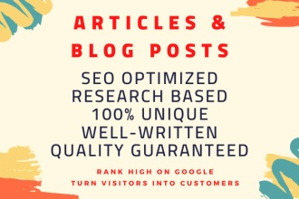 I will write high quality SEO friendly article or blog post for you