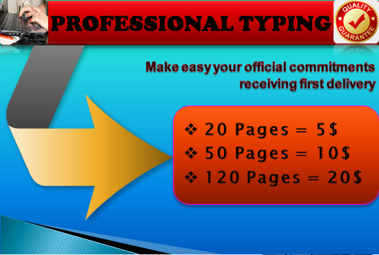 I will do fast and accurate copy typing started 20 pages