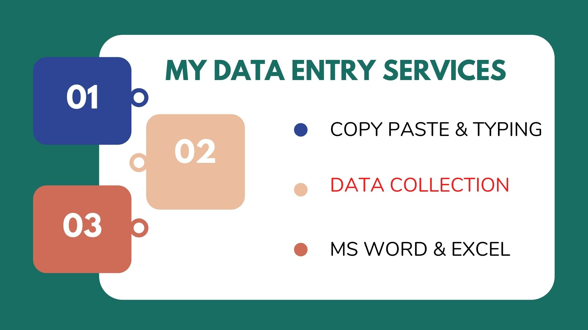 I will do any kind of Data entry, Data collection, Data scarping, Lead generation and typing