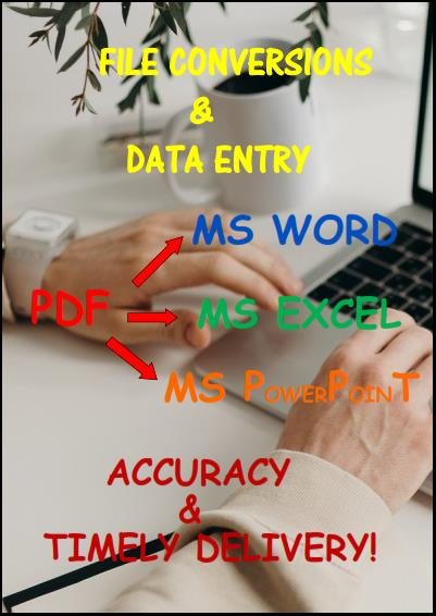 Deals on File Conversions PDF to MSWord,  Excel,  PowerPoint,  JPEG etc,  Data Entry and Typing