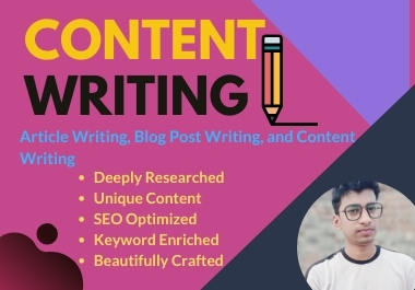 I will do SEO article writing blog post writing or content writing