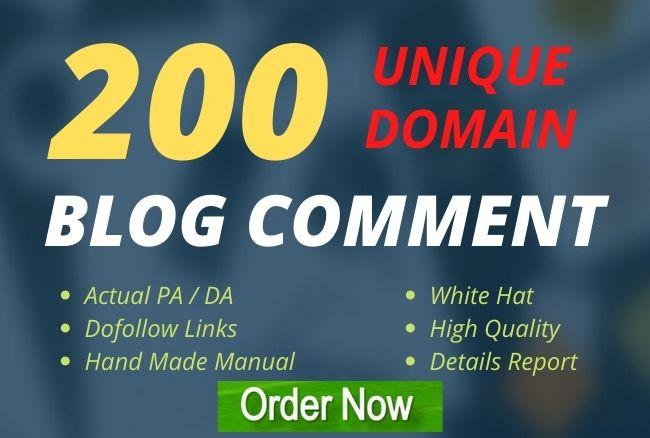 Create 200 unique domains blog comments backlinks