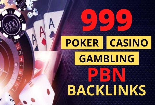 I will do 999 PBN dofollow Backlinks For Poker,  Casino,  Gambling
