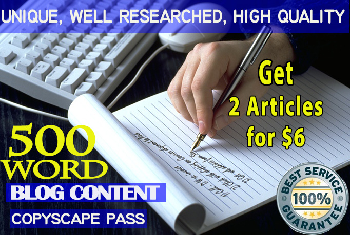 Write Two Original 500 Word ARTICLES