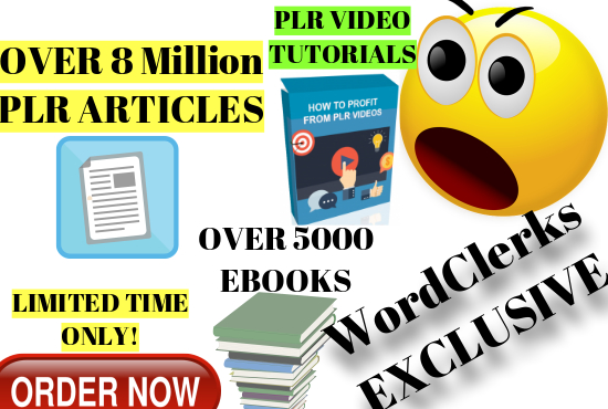 8,000,000 plr articles, 5000 ebooks and plr video tr...