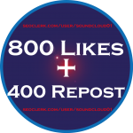 Complete Package of 800 Soundcloud Likes,  400 Reposts