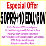Handmake 50 Pr9 + 10 Edu/Gov High DA/PA Safe Google Friendly Seo Backlinks