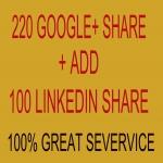 I will provide you 320 google plus share + free 200 linkedin share