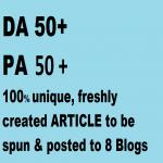 8 Blog posts on DA 50+,  PA 50+ blog posts on PBN of web2.0