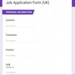 Job Application Form UK