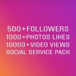 10000 Vlews+1000 Llkes+ 500 FoIIowers social media service pack