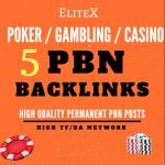 5 HQ Permanent Homepage POKER / CASINO / Gambling Niche PBN